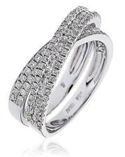 Pave Diamond Double Band X-Shaped Wedding Ring 1.00ct F VS in 18ct White Gold
