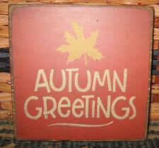 PRIMITIVE  COUNTRY  AUTUMN GREETINGS mini  sq   SIGN  fall~autumn~harvest
