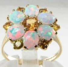 LARGE 9K 9CT GOLD GOLDEN CITRINE OPAL ART DECO INS DAISY CLUSTER RING FREE SIZE