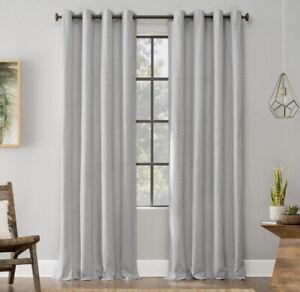 "ARCHAEO 52x96"" Gray And White Geometric Deco Curtain Panel Cotton Lichtenberg"