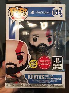 Funko Pop! PlayStation Kratos Blades of Chaos GITD #154 GameStop Exclusive