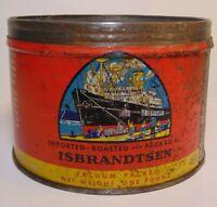 Vintage 1950s 26 ISBRANDTSEN COFFEE SHIP GRAPHIC COFFEE TIN ONE POUND NEW YORK