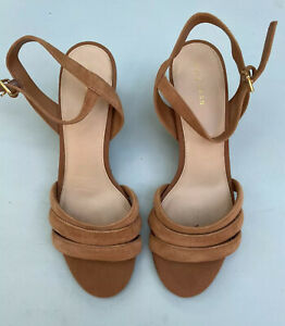 Cole Haan Sandals 8.5 Jasmine Strappy Tan Wedges Suede Shoes Open Toe Espadrille