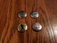 "Lot of 4 1986 Crane Potato Chips BRAVES, A'S, EX Vintage 7/8"" Pin Pinback Button"