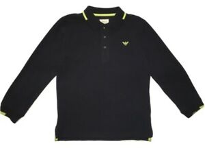 Armani Boys Polo Long Sleeves Navy Blue And Green - With Logo BNWT - 6 Years