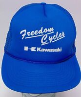 Old Vintage 1980s KAWASAKI MOTORCYCLES ADVERTISING BLUE SNAPBACK TRUCKER HAT CAP