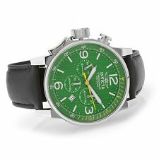 20132 Invicta 46mm I Force Lefty Quartz Chronogra Green Dial Leather Strap Watch