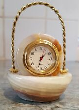 Handmade onyx marble basket  decorative quartz clock new