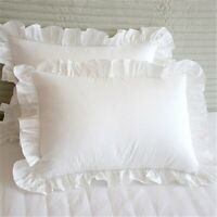 2Pcs White Pillowcase Bedding Cotton Solid Ruffle Pillow Sham Princess Euro T8X1