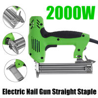 Electric Staple Gun Straight Tacker Nail Heavy Duty Stapler Woodworking Tool