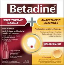 Betadine Sore Throat Gargle (Conc. 15mL) + Anaesthetic Lozenges (16) ::Iodine::