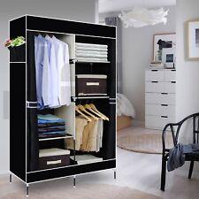 Double Canvas Wardrobe Rail Clothes Storage CUBPBOARD Bedroom Black