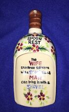 """Vintage SPOON REST - Ceramic Scoop Flowers The wife Can Throw Out More 6.5"""" long"""