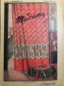 Antique French MADAME Magazine Sept 11,1930 - Needlecraft