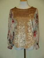 MEADOW RUE Anthropologie Blouse Boho Floral Crushed Velvet- Size XS- EUC