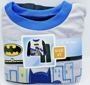 Batman 2 Piece Boys Pajama PJ Long Sleeve Set Size Toddlers 4T New