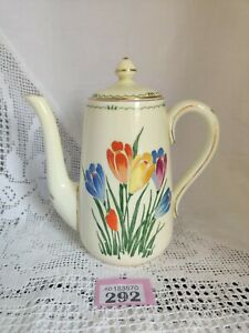 """Stunning CROWN STAFFORDSHIRE IVORY / FLORAL DECORATED Coffee Pot CROCUSES 7.25""""H"""