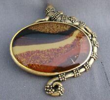 Chico'S Brass Tone Brown Black Gold Orange Lizard Oval Slide Chunky Pendant