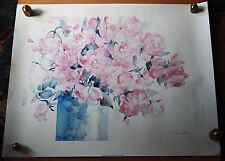 Delicate Rose Watercolor SARAH MALIN 1991 Signed Lithograph Poster 28x22