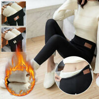 Ladies Thermal Leggings Thick Winter Fleece Lined Warm Mid Waist Pants Plus Size
