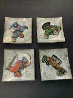 Vintage Ceramic Coasters Mid-Century Napco Japan Antique Cars MAN CAVE!