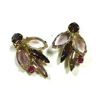 Vintage JULIANA D&E Earrings Pink Purple Navette Rhinestone Flower Gold PL GG5i