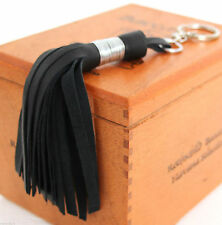 "HANDMADE MURKA BLACK LEATHER TASSEL FRINGE KEY PURSE BAG 6"" LONG CHARM FOB RING"