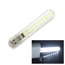 Night Light 8 SMD LED USB Pocket Charger Book Reading Bulb Laptop Desk Lamp New