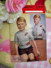 Vintage Knitting Pattern Boys Jumper & Cardigan With Trains, Planes & Cars Motif