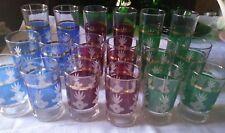 SET servizio 18 BICCHIERI  vetro/ cristallo COLORATO 3 misure  vintage glasses