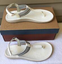 JAMBU Sandals SZ 8.5 Med YASMIN White Silver JBU Thong Hook & Loop Vegan New