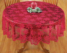 """Christmas Decor Tablecloth Poinsettia Lace Design 70"""" Round Scallop Overlay Red"""