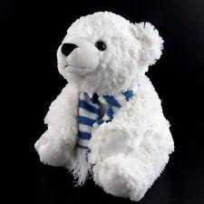 Animal Adventure Winter White Teddy Bear Plush Stuffed Toy Blue Scarf Seated