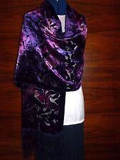 Velours devore écharpe/châle violet/rose en velours motif floral sur soie noire nouveau