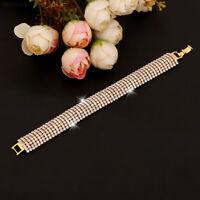 0B62 Women Ladies Crystal Diamante Rhinestone Bangle Cuff Jewellery Bracelet Gol