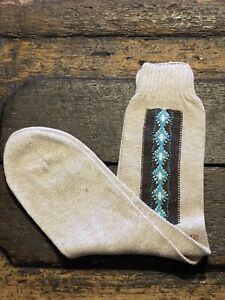1950s Argyle Socks / NOS Blue Cotton Diamond Design Elastic Top Unworn / Large