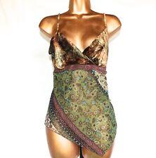 Womens Paisley Shirt, Silky Velvet Sz Small Green/Tan By Heart