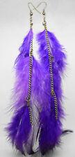 F1169 fashion purple long Feather chain cute dangle chandelier earrings jewelry