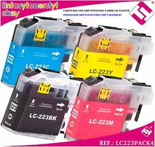PACK 4 TINTA LC223 BROTHER DCP J4120DW CARTUCHO NONOEM