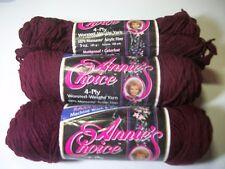 Annies Choice yarn acrylic worsted wt 4 ply 3 oz sk #7927 burgundy lot 2+2 part