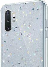 Samsung Galaxy Note 10+ Plus - Hard Rubber Phone Case Cover Clear Glitter Stars
