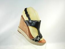 Coach Mendez Sz 7 B Black Leather Cork T-Strap Wedge Heel Sandal Shoes For Women