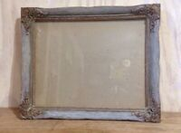Vintage Distressed Wood Ornate Hanging Picture Frame Gray Gold Tone