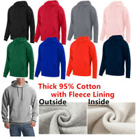 Men Women Hooded Cotton Sweatshirt Pullover Hoodie Plain Casual Sports Jumper