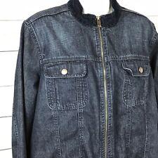 Tommy Hilfiger Women 1X Denim Jean Jacket Zip Front Mandarin Collar Flap Pockets