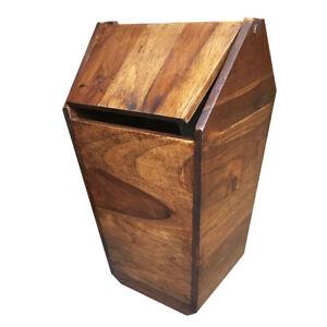 Wooden Trash Wastebasket Garbage Swing Lid Home Decor Indoor Office Bin DHL Fast
