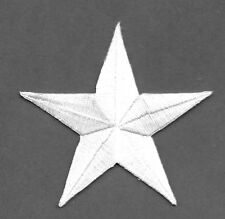 """( ONE - 1) Star - Generous 3"""" White Embroidered Iron On Applique Patch - B"""