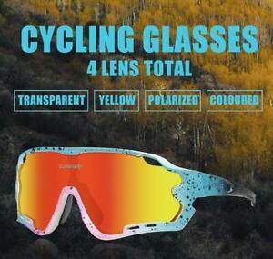 Queshark 2020 New Polarized Cycling Sunglasses Bike Glasses Driving 4 3 Lens sun