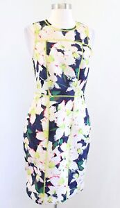 J Crew Cove Surf Floral Print Neoprene Scuba Sheath Dress Size 4 Green Blue
