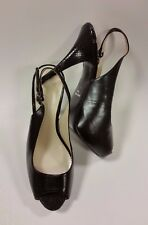 Nine West Shoes Heels Slingbacks Textured Heel Peep Toe Black Womens Size 7.5 M